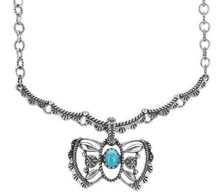 American West Turquoise Butterfly Enhancerw/ Chain
