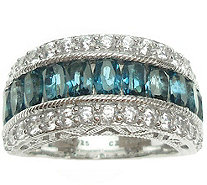 Judith Ripka Sterling Blue Topaz & Diamonique Band Ring - J377606