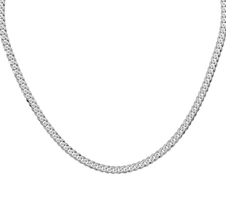 "14K White Gold Beveled 18"" Curb Necklace, 14.7g"