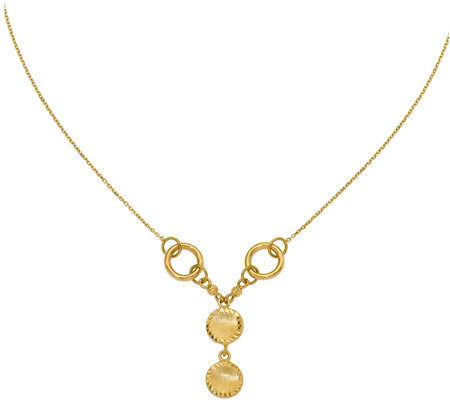 14K Polished & Brushed Circles Necklace, 5g