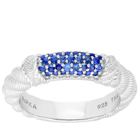 Judith Ripka Sterling Pave-Set Blue Sapphire Stack Ring