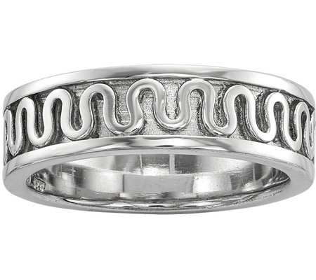Sterling Squiggly Line Band Ring by Silver Style