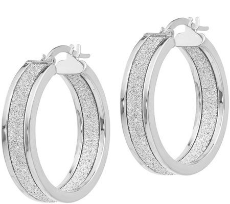 Italian Gold Inside-Out Glimmer-Infused Hoop Earrings 14K