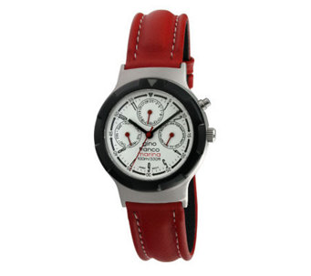 Gino Franco Men's Multifunction Red Leather Strap Watch - J107107