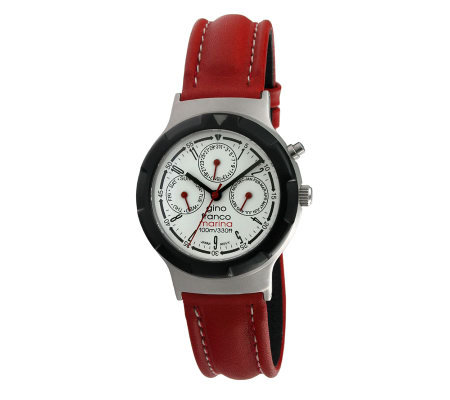Gino Franco Men's Multifunction Red Leather Strap Watch