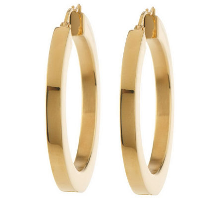 Steel by Design Polished Square Tube Round Hoop Earrings