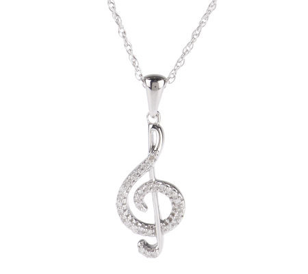 "AffinityDiamond 1/10 ct tw Music Note Pendant w/18"" Chain, Sterling"