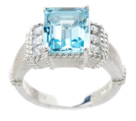Judith Ripka Sterling 5.00ct Blue Topaz and Diamonique Textured Ring