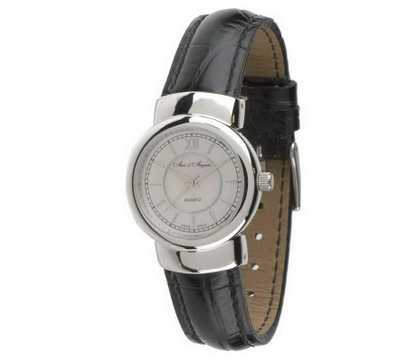 """As Is"" Arte d'Argento Sterling Round Case Leather Strap Watch"