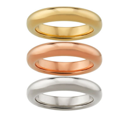 """As Is"" Oro Nuovo Set of 3 Silk Fit Stack Rings, 14K Gold"
