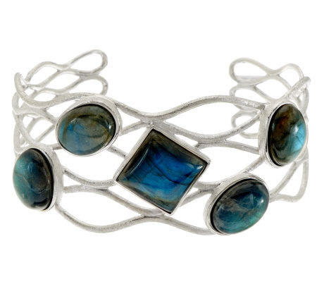 """As Is"" VicenzaSilver Sterling Labradorite Fancy Cuff"
