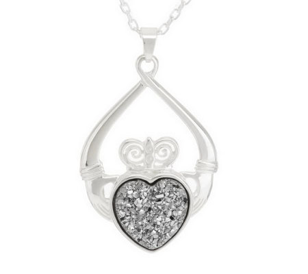 """As Is"" JMH Jewellery Sterling Silver Claddagh Drusy Quartz Pendant"