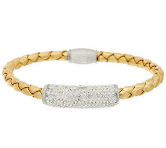 Stainless Steel Woven Simulated Leather Bracelet w/ Crystal Accent - J286507