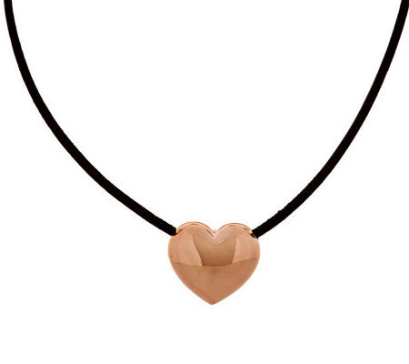 "Oro Nuovo Polished Heart 18"" Leather Necklace 14K"