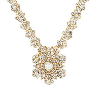"Joan Rivers Crystal Rosette 18"" Necklace w/ Removable Brooch - J293607"