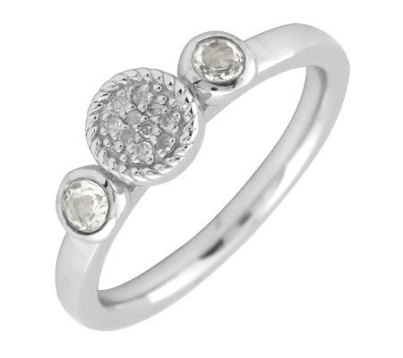 Simply Stacks Sterling & Double Round White Topaz Diamond Ring