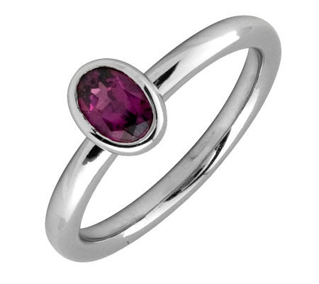 Simply Stacks Sterling & Oval Rhodolite GarnetRing