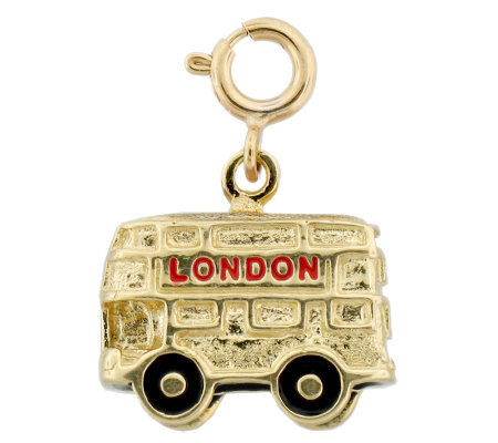 London Double-Decker Enamel Bus Charm, 14K Gold