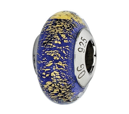 Prerogatives Sterling Blue & Gold Italian Murano Glass Bead