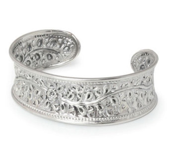 "Novica Artisan Crafted Sterling ""Flower of Lanna"" Cuff - J303907"
