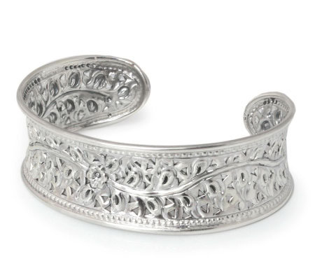 "Novica Artisan Crafted Sterling ""Flower of Lanna"" Cuff"