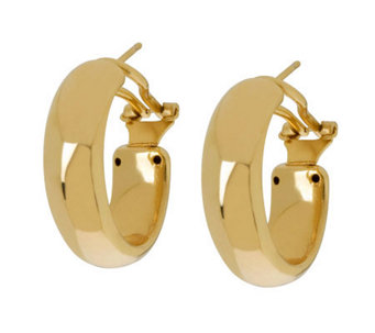 "Veronese 18K Clad 1"" Oval Hoop Earrings with Omega Backs - J304407"