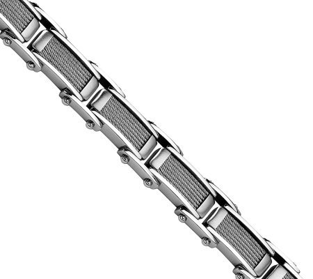 "Forza 8-1/2"" Brushed Cable & Polished Bracelet"