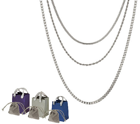 Stainless Steel Set of Three Chains w/Gift Bags and Pouch
