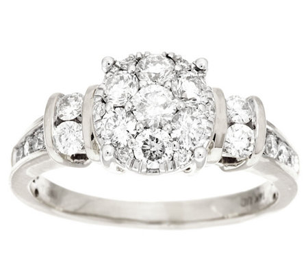 Round Cluster Design Diamond Ring, 14K 1.00 cttw by Affinity