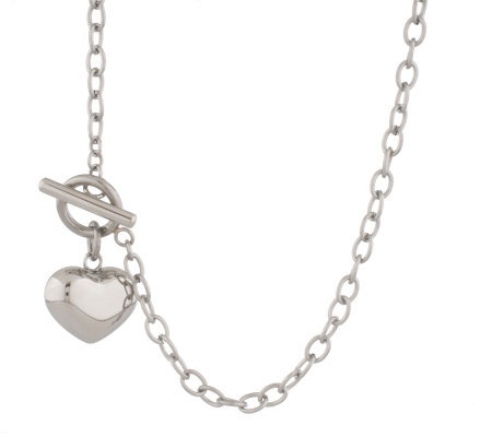 "Steel by Design 24"" Toggle Necklace w/DanglingHeart"