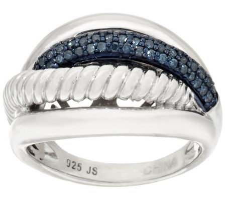 Color Textured Diamond Ring, Sterling, 1/4 cttw, by Affinity