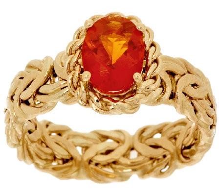 """As Is"" 14K Gold 0.70 ct Fire Opal Byzantine Ring"