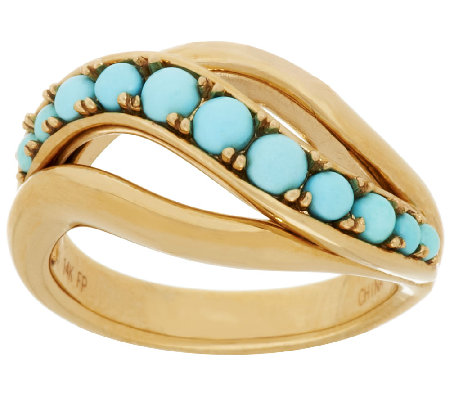 14K Gold Sleeping Beauty Turquoise Bead Ring