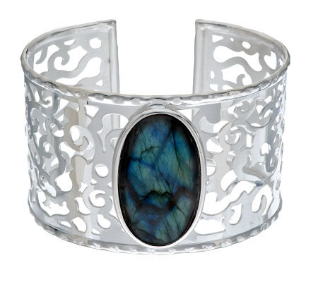 """As Is"" VicenzaSilver Sterling Large Labradorite Cuff"