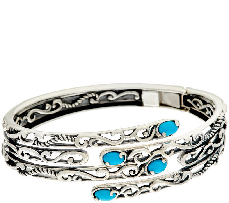 Carolyn Pollack Sleeping Beauty Turquoise Sterling Bypass Bracelet Cuff