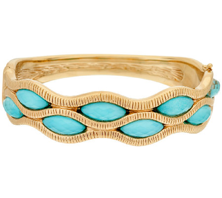 14K GoldAverage Sleeping Beauty Turquoise Doublet Bangle Bracelet