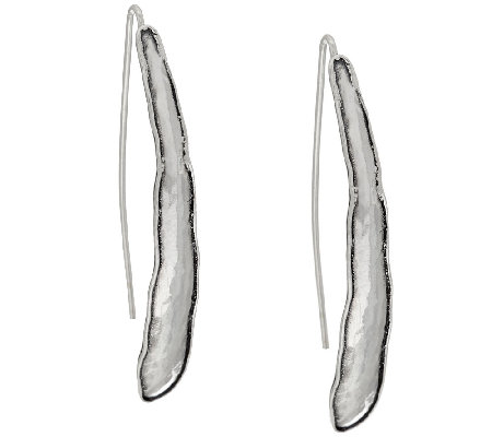 Sterling Silver Hammered Elongated Earrings by Or Paz