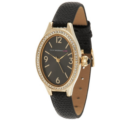 Isaac Mizrahi Live! Oval Crystal Case Exotic Strap Watch