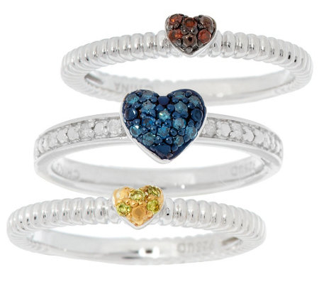 """As Is"" Pave' Heart Stack Diamond Rings, Sterling 1/5 ct tw by Affinity"