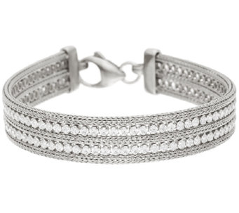 "Vicenza Silver Sterling 6-3/4"" Double Row Crystal Mesh Bracelet, 15.1g - J324107"