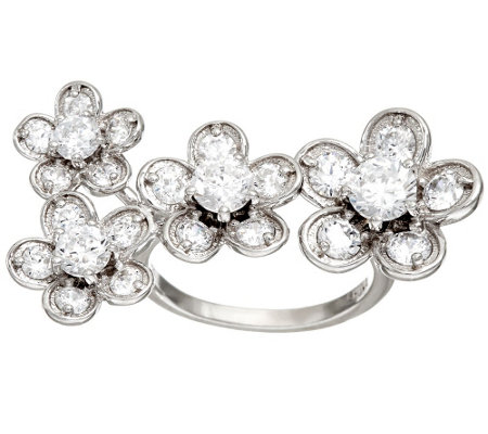 Diamonique Floral Design Ring, Sterling