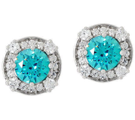 Diamonique & Simulated Apatite Halo Stud Earrings, Sterling