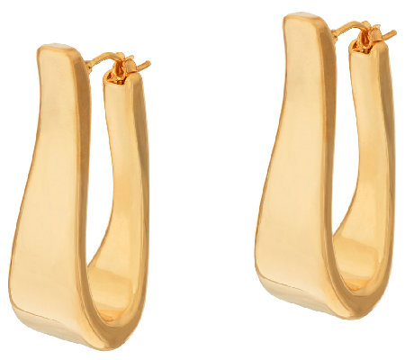 """As Is"" Oro Nuovo 1-1/4"" Elongated Oval Hoop Earrings, 14K"