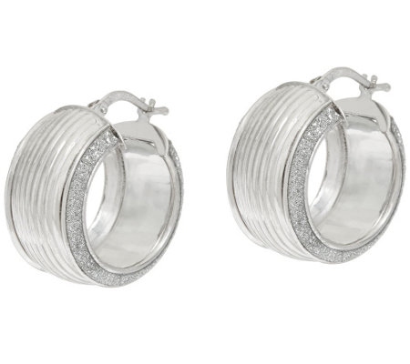 """As is"" Vicenza Silver Sterling 3/4"" Ribbed Pave' Glitter Hoop Earrings"