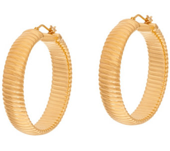 """As Is"" Oro Nuovo 1-1/2"" Ribbed Round Hoop Earrings, 14K - J328107"