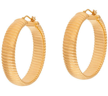 """As Is"" Oro Nuovo 1-1/2"" Ribbed Round Hoop Earrings, 14K"