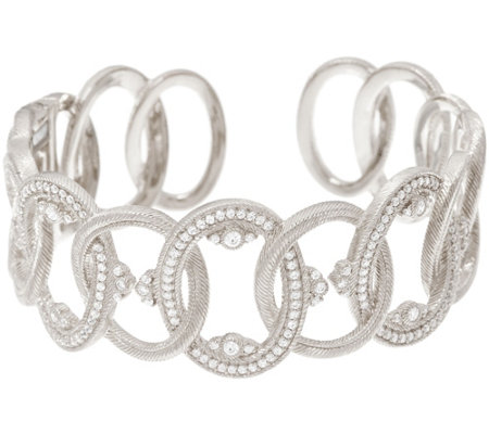 Judith Ripka Sterling or 14K Clad Diamonique Cuff Bracelet