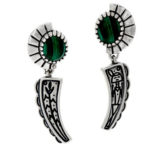 Fritz Casuse Sterling Silver & Malachite Harvest Moon Earrings - J329407