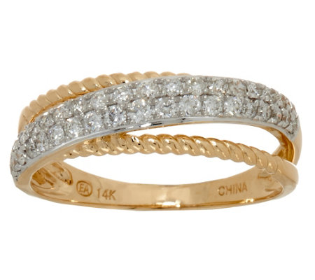 """As Is"" Diamond Rope Band Ring, 14K Gold, 1/3 cttw, by Affinity"