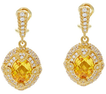 Judith Ripka 14K Clad 6.00 ct Yellow Diamonique Drop Earrings - J331207